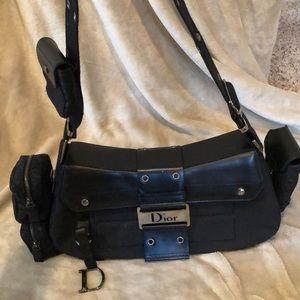 Black canvas Dior handbag.